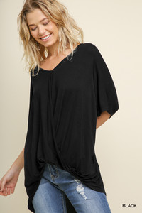 Relaxed Fit Surplice Top (Black, Cream, Navy or Wine)