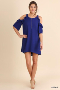 Cobalt Cold Shoulder Dress w/Ruffle