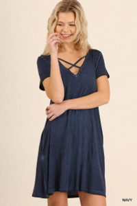 Navy Washed Criss-Cross V-Neck Dress w/Pockets