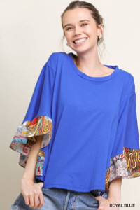 Paisley Print Ruffle Bell Sleeve Top (Small)