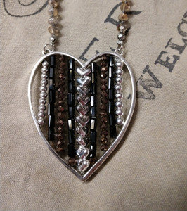 Glass Beads w/Large Heart Pendant