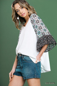 Sheer Floral Print Ruffle Top