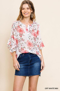 Button-Down Floral Print Blouse (Small)