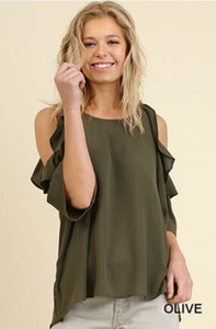 Olive Cold Shoulder w/Ruffles