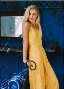 Floral Printed Mustard Jumpsuit
