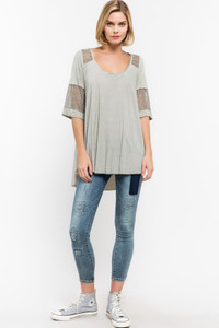 V-Neck top w/Striped Inset Detail