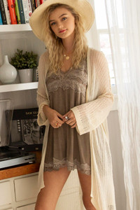 Lightweight Open Weave Midi Cardigan