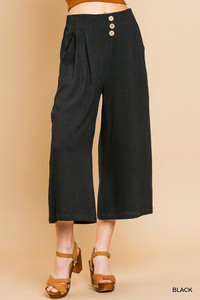 Linen Blend Cropped Wide Leg Pants