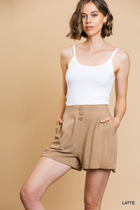 Linen Blend High Waisted Shorts