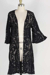Black Burnout Lace Cardigan in PLUS