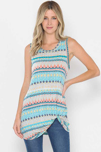 PLUS Knotted Hem Multi Color Tunic