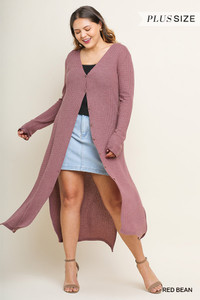 PLUS Waffle Knit LONG Cardigan w/side slits