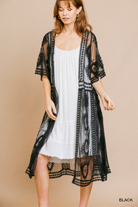 Long Lace Black Cardigan