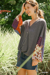 Heathered Knit Top w/Mixed Print Puff Sleeve