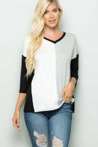 Black/Grey/White Color Block Top