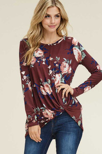 PLUS Burgundy Twist Hem Top