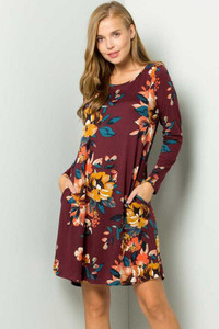 PLUS Burgundy Floral Print Dress