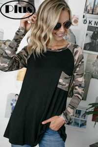 PLUS-SIZE Camo Long Sleeve Top w/Pocket