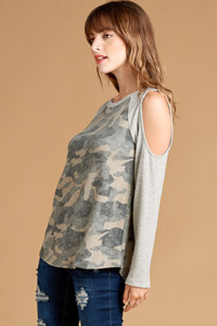 Camo Print Cold-Shoulder Top