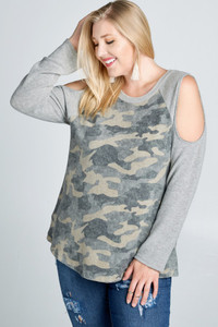 PLUS Camo Print Cold-Shoulder Top