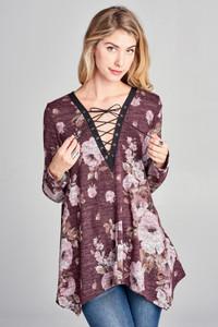Floral Print Hacci Knit Trapeze Top