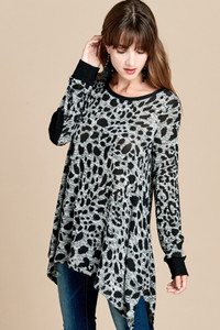 Animal Print Sweater w/Elbow Patches
