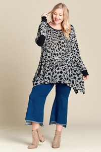 PLUS Animal Print Sweater w/Elbow Patches