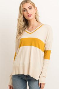 V-Neck Mustard Stripe Sweater w/Side Zipper