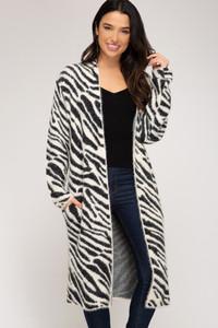 Zebra Print Fuzzy Cardigan