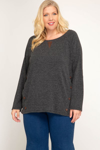 PLUS Long Sleeve Top w/Elbow Patches