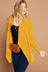 Cascading Front Cardigan - Mustard or Charcoal
