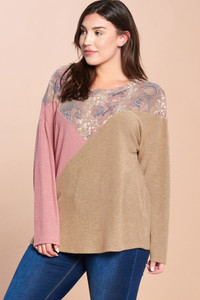 PLUS Mixed Print Brushed Hacci Top