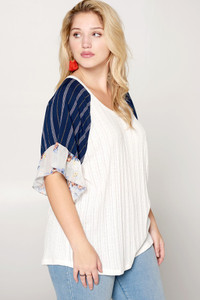 PLUS Sweater Knit w/Short Striped Raglan Ruffled Sleeve