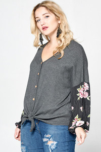 PLUS Waffle Knit Top w/Contrasting Bishop Sleeve