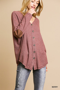 Fleece Fabric Waffle Knit Top w/Suede Elbow Pads