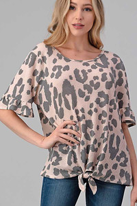 PLUS Knotted Hem Animal Print Waffle Top