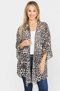 PLUS Sheer Leopard Print Kimono Cardigan