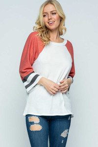 PLUS Wide Sleeve Striped Tunic Top