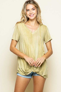 Twisted Hem Mustard Tie Dye Tunic