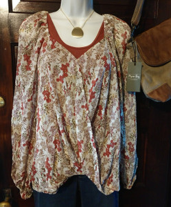 Sheer Floral Print Top w/Sweetheart Neckline and Gathered Front