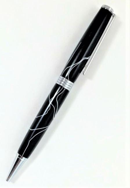 Black with white thin pen