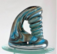 Aqua blue and brown pen holder/paperweight