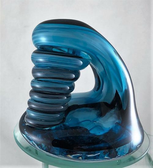 Aqua and Black Large glass holder