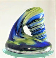 Handmade large glass pen holder & paperweight