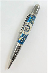 Navy watch face and parts used in a pen