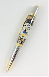 Parker style pen made from Donald Duck watch