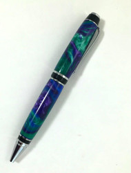 big pen in peacock colors