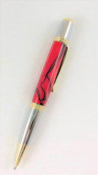 Red with black twist handmade pen