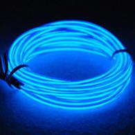 TDLTEK Neon Glowing Strobing Electroluminescent Wire /El Wire + 3 Mode Battery Controller, Blue 9ft