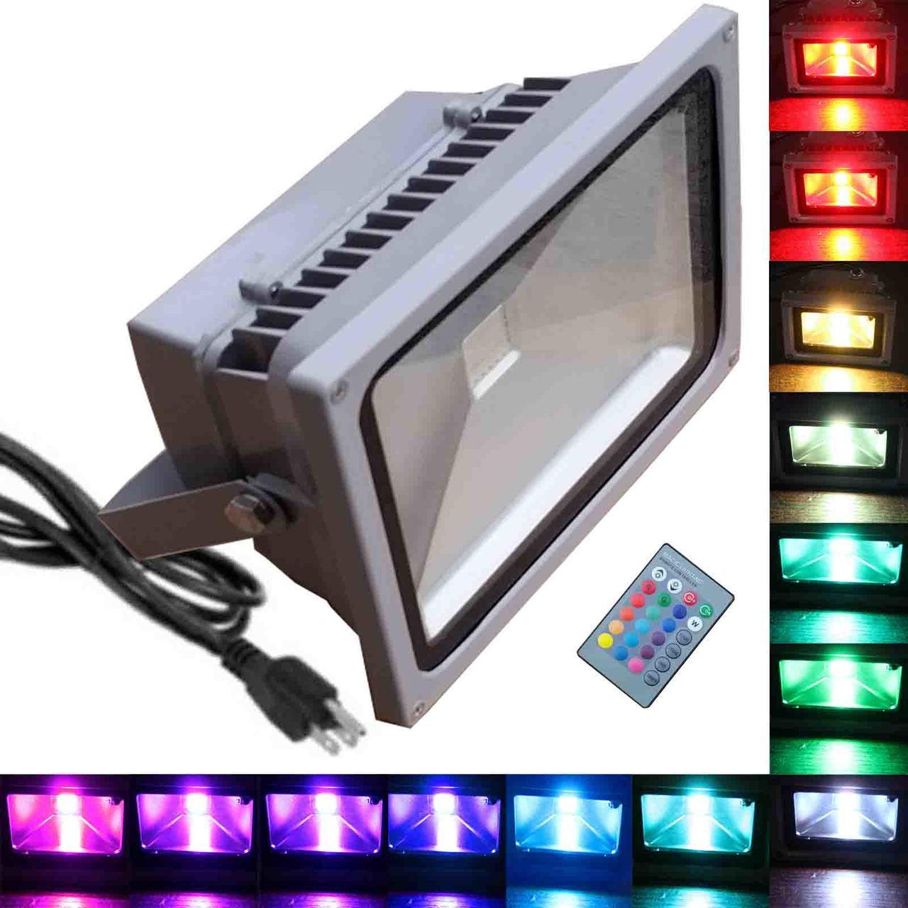 50W RGB Flood Light - TDLTEK 50W RGB Color Changing LED Flood Light  /Spotlight/Landscape Lamp/Outdoor Security Light With[ Memory Function],  [US 3